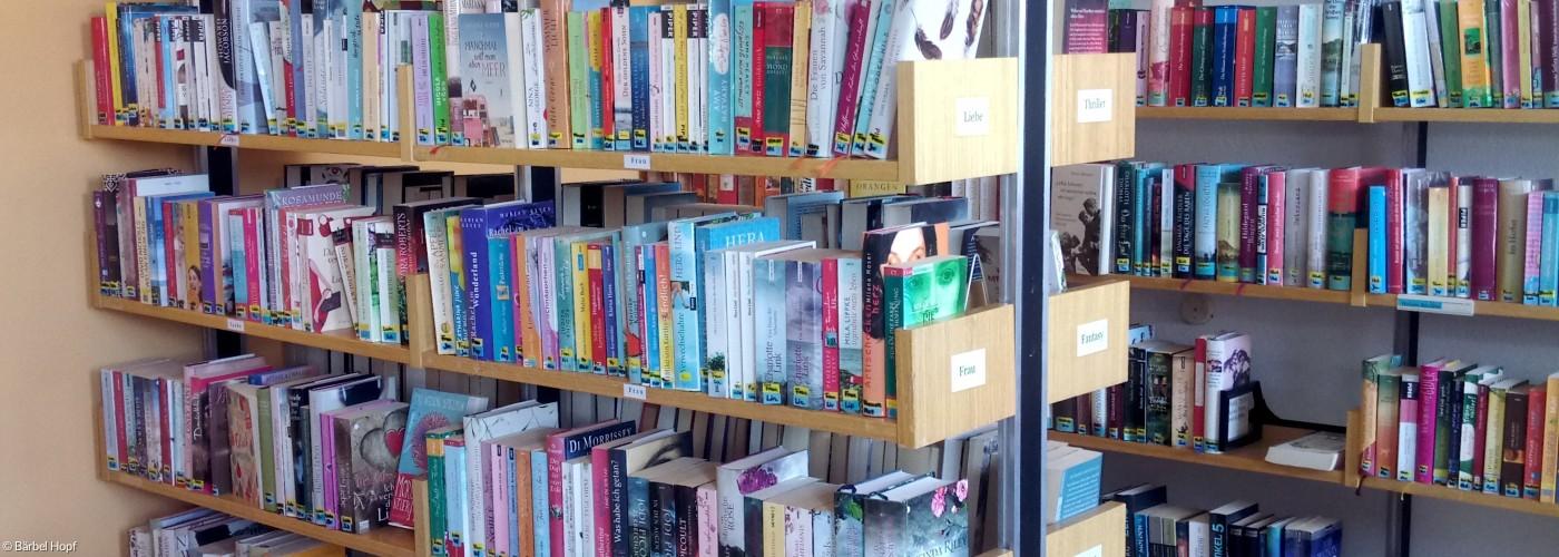 Bücherei mit Regalen und Büchern